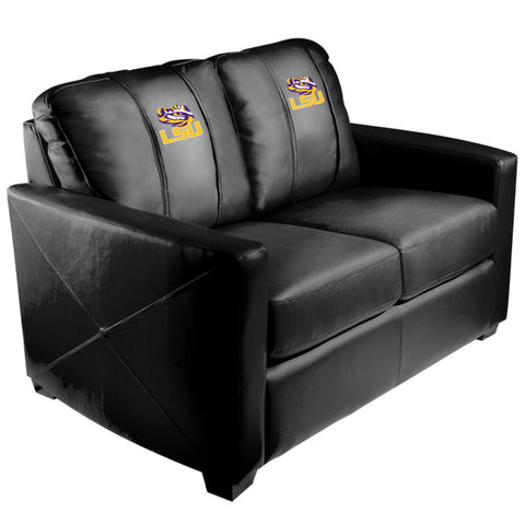 Silver Loveseat with LSU Tigers Logo