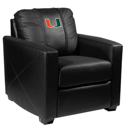 Silver Club Chair with Miami Hurricanes Logo