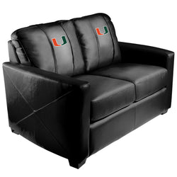 Silver Loveseat with Miami Hurricanes Logo
