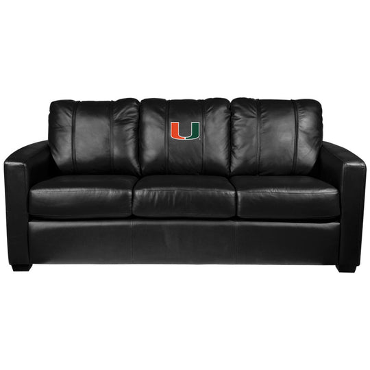 Silver Sofa with Miami Hurricanes Logo