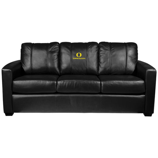 Silver Sofa with Oregon Ducks Logo