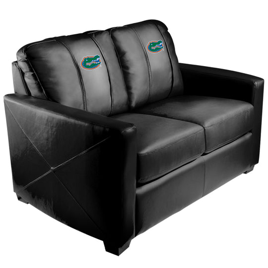 Silver Loveseat with Florida Gators Primary Logo Panel
