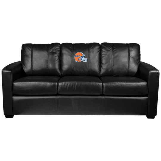 Silver Sofa with Florida Gators Helmet Logo Panel