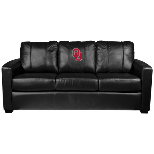 Silver Sofa with Oklahoma Sooners Logo
