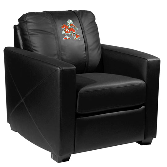 Silver Club Chair with Miami Hurricanes Secondary Logo