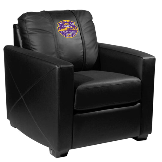 Silver Club Chair with LSU Tigers National Champions Logo