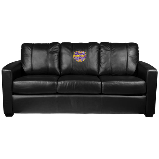 Silver Sofa with LSU Tigers National Champions Logo