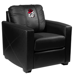 Silver Club Chair with Georgia Pinstripe Bulldog Head Logo Panel