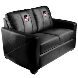 Silver Loveseat with Georgia Pinstripe Bulldog Head Logo Panel