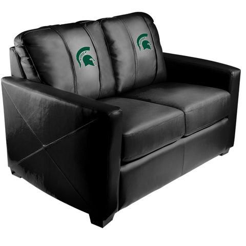 Silver Loveseat with Michigan State Spartans Logo