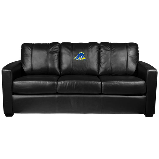 Silver Sofa with Delaware Blue Hens Logo