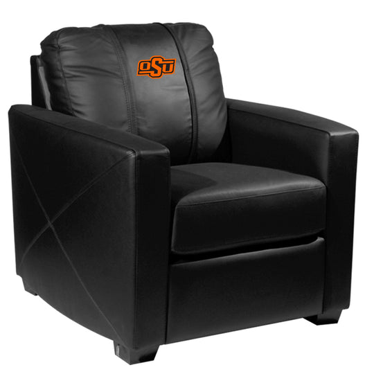 Silver Club Chair with Oklahoma State Cowboys Logo
