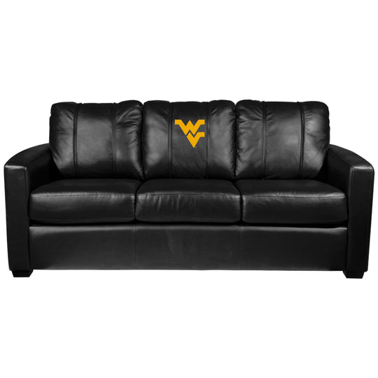 Silver Sofa with West Virginia Mountaineers Logo