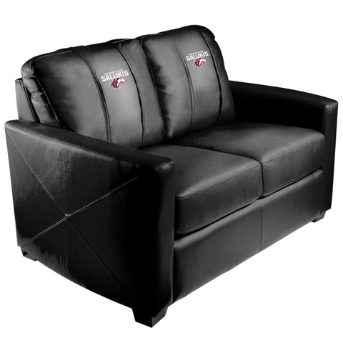 Silver Loveseat with Southern Illinois Salukis Logo