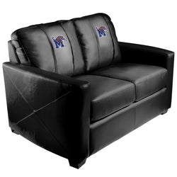 Silver Loveseat with Memphis Tigers Logo Panel