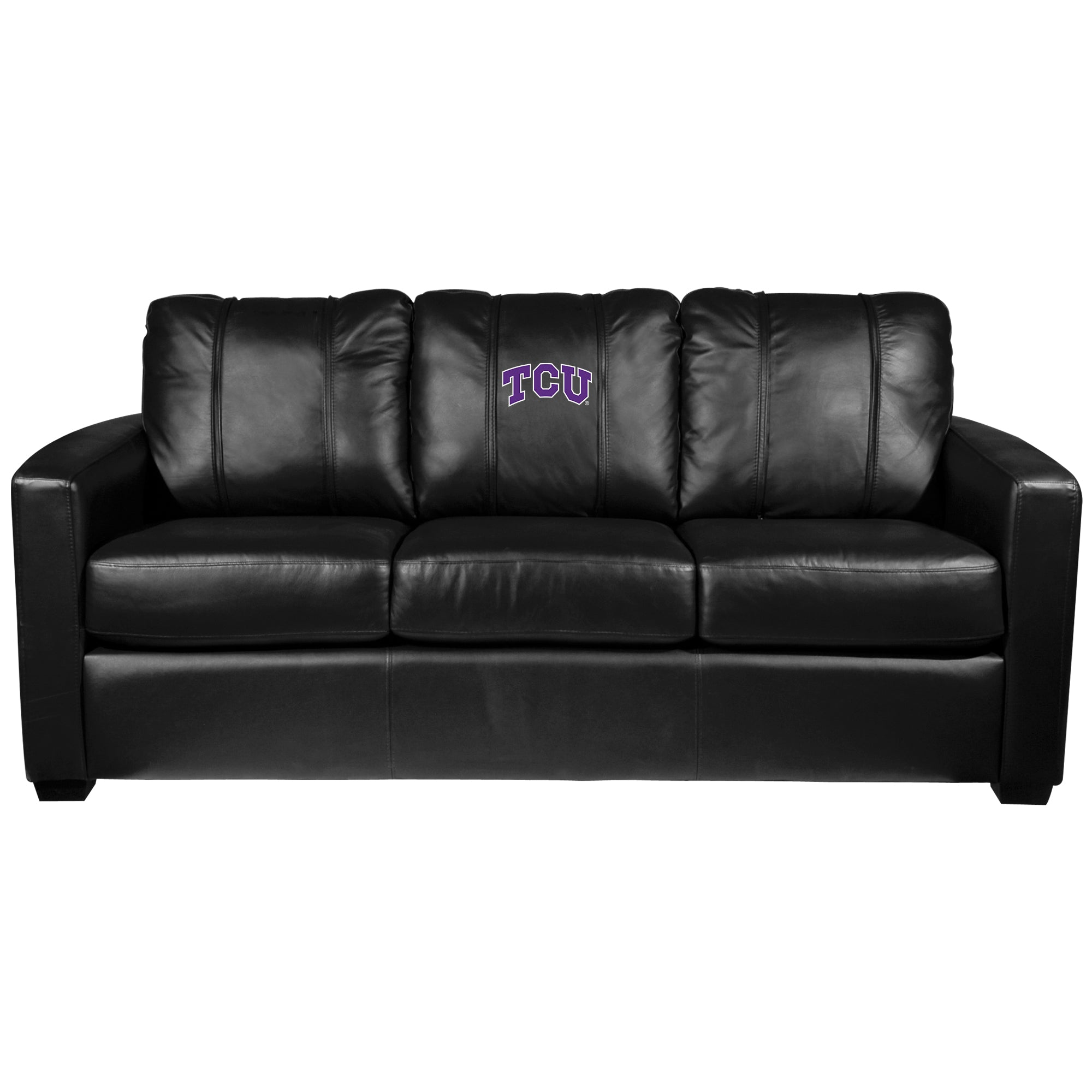 Silver Sofa with TCU Horned Frogs Primary