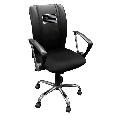 Curve Task Chair with Blue Line Flag Logo Panel