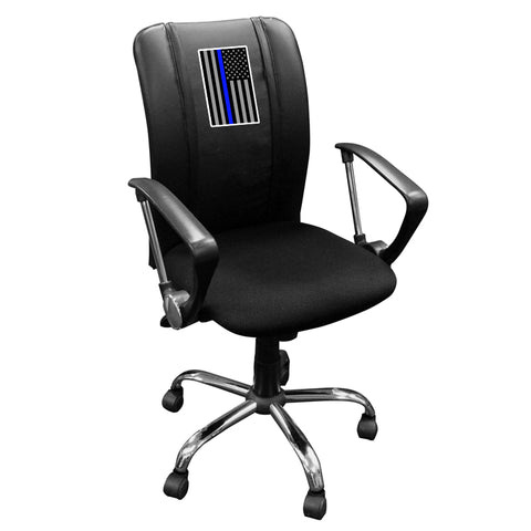 Curve Task Chair with Blue Line Flag Vertical Logo Panel