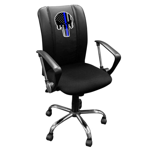 Curve Task Chair with Blue Line Skull Logo Panel