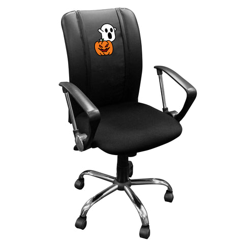 Curve Task Chair with Spooky Pumpkin patch Logo