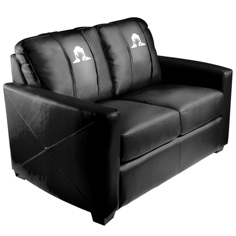 Silver Loveseat with Ghoulish Rising Hand Halloween Logo