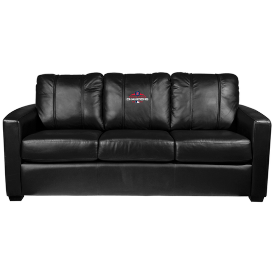 Silver Sofa with Boston Red Sox 2018 Champions Logo Panel