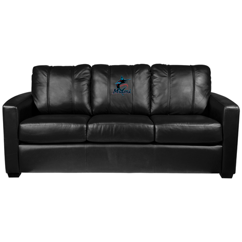 Silver Sofa with Miami Marlins Primary Logo Panel