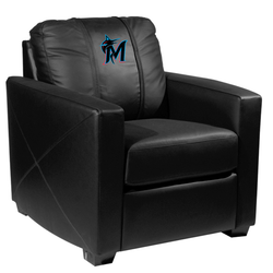 Silver Club Chair with Miami Marlins Secondary Logo Panel