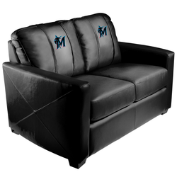 Silver Loveseat with Miami Marlins Secondary Logo Panel