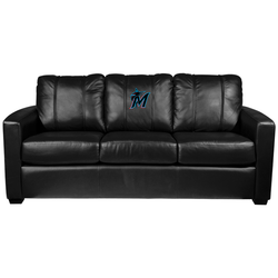 Silver Sofa with Miami Marlins Secondary Logo Panel