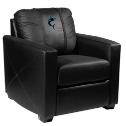 Silver Club Chair with Miami Marlins Alternate Logo Panel