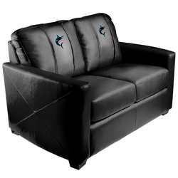 Silver Loveseat with Miami Marlins Alternate Logo Panel