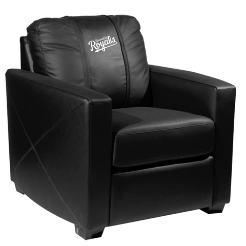 Silver Club Chair with Kansas City Royals Wordmark Logo Panel