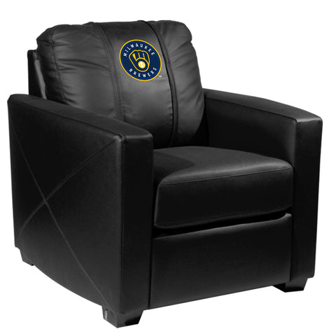 Silver Club Chair with Milwaukee Brewers Primary Logo
