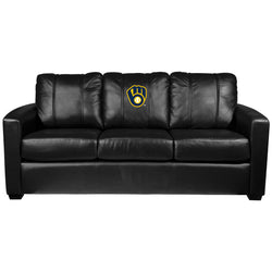 Silver Sofa with Milwaukee Brewers Logo