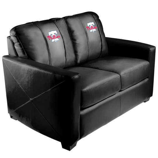 Silver Loveseat with Philadelphia Phillies Primary Logo Panel
