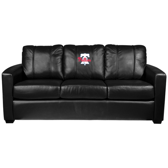 Silver Sofa with Philadelphia Phillies Primary Logo Panel