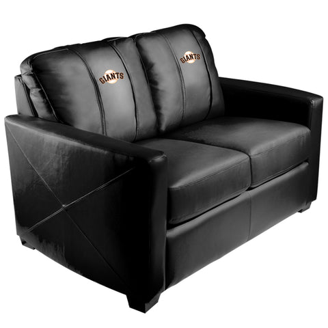 Silver Loveseat with San Francisco Giants Logo