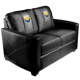 Silver Loveseat with Golden State Warriors Logo