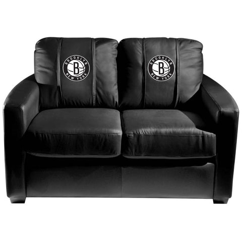 Silver Loveseat with Brooklyn Nets Secondary