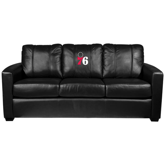 Silver Sofa with Philadelphia 76ers Secondary