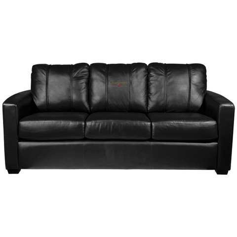 Silver Sofa with Toronto Raptors Primary 2019 Champions Alternate Logo
