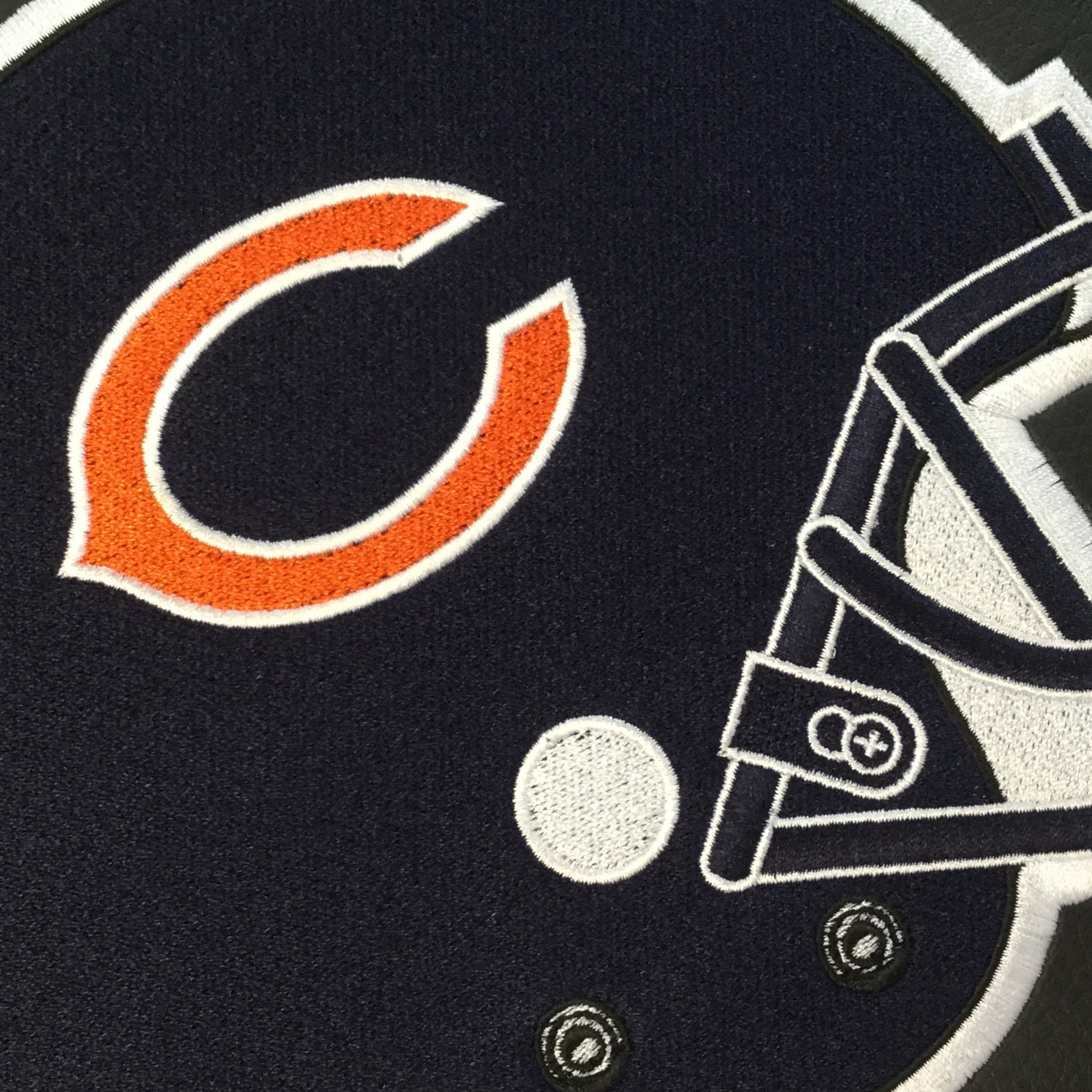 Silver Sofa with  Chicago Bears Helmet Logo
