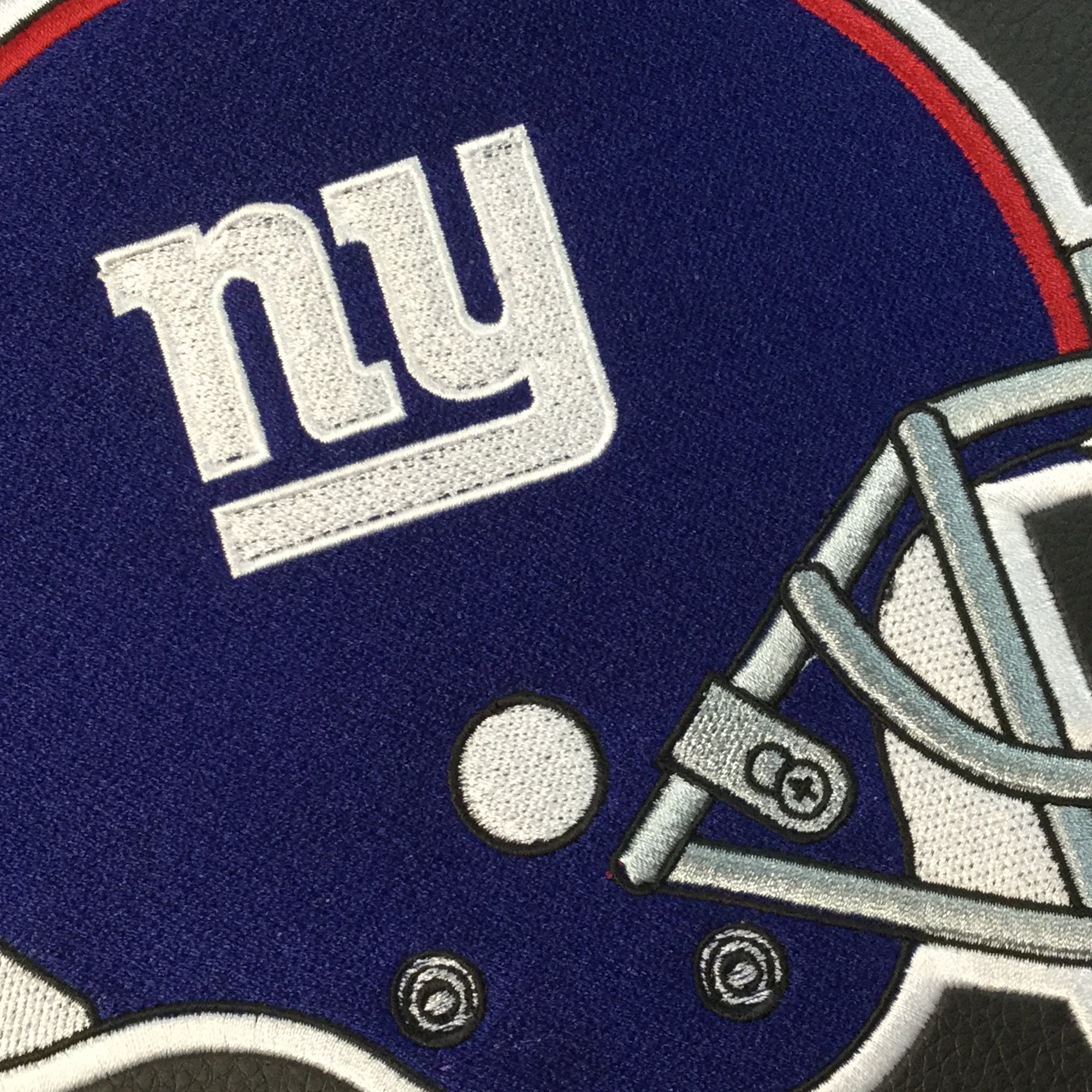 Silver Club Chair with  New York Giants Helmet Logo