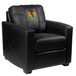 Silver Club Chair with Chicago Blackhawks Logo