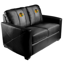 Silver Loveseat with Chicago Blackhawks Logo
