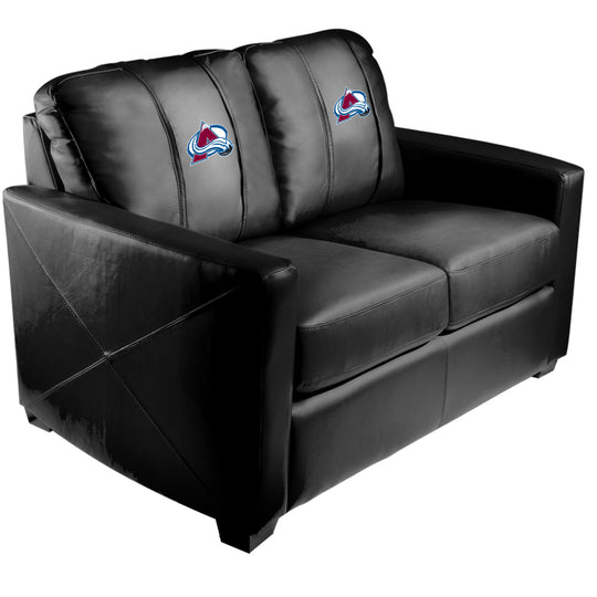 Silver Loveseat with Colorado Avalance Logo
