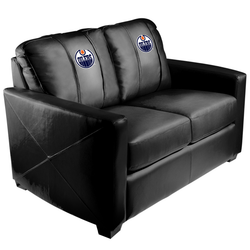 Silver Loveseat with Edmonton Oilers Logo