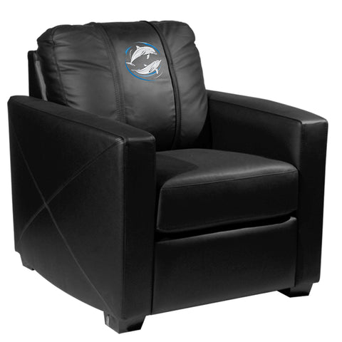 Silver Club Chair with Dolphin Swirl Logo Panel