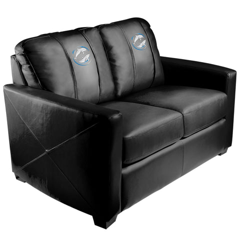 Silver Loveseat with Dolphin Swirl Logo Panel